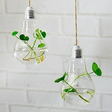 Home Office Wedding Decor Glass Bulb Shape Flower Water Plant Hanging Vase Two-Hole with Rope
